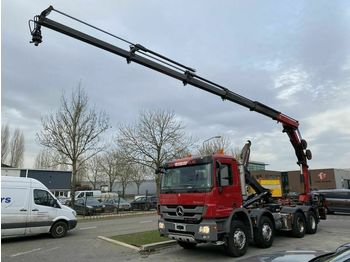 Abrollkipper Mercedes-Benz Actros 3241 8X4 FULL STEEL MET HIAB HOOKLIFT + H
