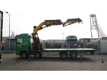 LKW Scania R 500 8X2 BOAT TRANSPORT WITH PALFINGER PK 85002 CRANE WITH JIB PJ 170